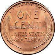 USA One Cent Lincoln 1944D KM# A132 UNITED STATES OF AMERICA E ∙ PLURIBUS ∙ UNUM ONE CENT coin reverse