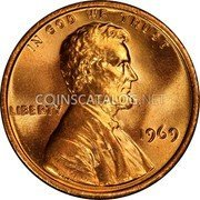 USA One Cent Lincoln 1969S KM# 201 IN GOD WE TRUST LIBERTY coin obverse