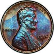 USA One Cent Lincoln 1970 S Doubled Die Obverse Proof KM# 201 IN GOD WE TRUST LIBERTY coin obverse