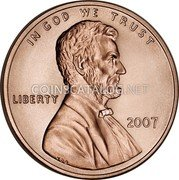 USA One Cent Lincoln 2007 KM# 201b IN GOD WE TRUST LIBERTY coin obverse
