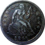 USA One Dime Seated Liberty 1845 KM# 63.2 LIBERTY coin obverse