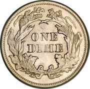 USA One Dime Seated Liberty 1874 KM# 105 ONE DIME coin reverse
