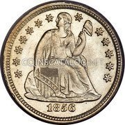 USA One Dime Seated Liberty Dime 1856 small date KM# A63.2 LIBERTY coin obverse