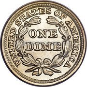 USA One Dime Seated Liberty Dime 1856 small date KM# A63.2 UNITED STATES OF AMERICA ONE DIME coin reverse