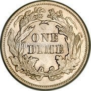 USA One Dime Seated Liberty Dime 1874 KM# 105 ONE DIME coin reverse