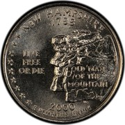 USA Quarter Dollar New Hampshire 2000 D KM# 308 NEW HAMPSHIRE 1788 LIVE FREE OR DIE OLD MAN OF THE MOUNTAIN E PLURIBUS UNUM coin reverse
