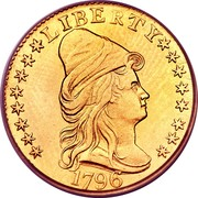 USA Quarter eagle Liberty Cap - Two and half Dollars 1796 stars KM# 27 LIBERTY coin obverse