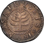 USA Shilling Pine Tree 1652 KM# 16 MASATHVSETS IN coin obverse