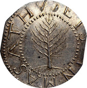 USA Shilling Pine Tree 1652 KM# 15 ∙ MASATHVSETS ∙ IN ∙ coin obverse