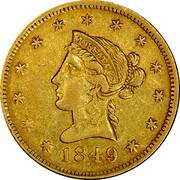 USA Ten Dol. 1849 KM# 38.2 Moffat & Company MOFFAT & CO coin obverse