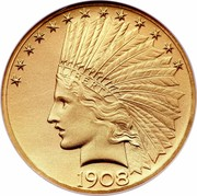 USA Ten dollars Indian Eagle 1908 KM# 130 LIBERTY DATE coin obverse