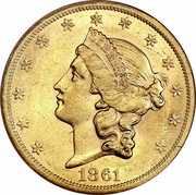 USA Twenty D. Liberty Double Eagle 1861 S KM# 93 LIBERTY 1861 coin obverse