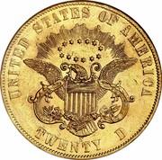 USA Twenty D. Liberty Double Eagle 1861 S KM# 93 UNITED STATES OF AMERICA E PLURIBUS UNUM S TWENTY D coin reverse