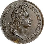 USA 2 Pence Rosa Americana 1723 KM# 11 GEORGIUS ∙ D : G: ∙ MAG : BRI: FRA : ET ∙ HIB : REX ∙ coin obverse