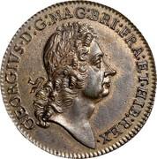 USA 2 Pence Royal Patent 1722 KM# 6 GEORGIVS ∙ D : G: MAG : BRI: FRA : ET ∙ HIB : REX ∙ coin obverse