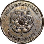 USA 2 Pence Royal Patent 1722 KM# 6 ROSA ∙ AMERICANA ∙ UTILE ∙ DULCI coin reverse