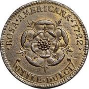USA 2 Pence Royal Patent 1722 KM# 8.1 ROSA ∙ AMERICANA ∙ UTILE ∙ DULCI coin reverse