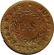 USA Cent 1783 KM# EA6.2 Nova Constellatio • LIBERTAS * JUSTITIA • U • S coin reverse