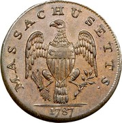 USA Cent 1787 KM# 20.1 Massachusetts Coppers (official) MASSACHUSETTS. CENT coin reverse