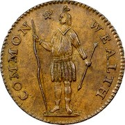USA Cent 1788 KM# 20.4 Massachusetts Coppers (official) COMMON * WEALTH coin obverse