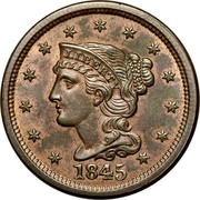 USA Cent Braided Hair 1845 KM# 67 LIBERTY coin obverse