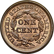 USA Cent Braided Hair 1845 KM# 67 UNITED STATES OF AMERICA ONE CENT coin reverse