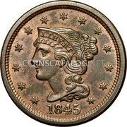 USA Cent Braided Hair Cent 1845 KM# 67 LIBERTY coin obverse