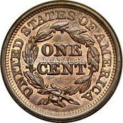 USA Cent Braided Hair Cent 1845 KM# 67 UNITED STATES OF AMERICA ONE CENT coin reverse
