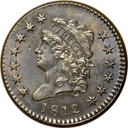 USA Cent Classic Head 1812 large date KM# 39 LIBERTY coin obverse