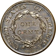 USA Cent Classic Head 1812 large date KM# 39 UNITED STATES OF AMERICA ONE CENT coin reverse