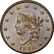 USA Cent Coronet 1818 KM# 45 LIBERTY coin obverse
