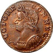 USA Connecticut Copper Mailed Bust Facing Left Connecticut Copper 1786 KM# 3.1 AUCTORI: CONNEC: coin obverse