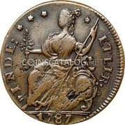 USA Connecticut Copper 1787 KM# 8.9 Connecticut Coppers * INDE: * * * * ETLIB: coin reverse