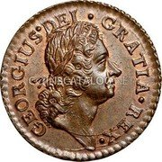 USA Farting Hibernia Harp Right 1723 KM# 25 GEORGIUS • DEI • GRATIA • REX • coin obverse