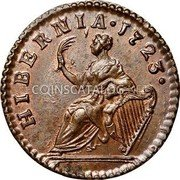USA Farting Hibernia Harp Right 1723 KM# 25 HIBERNIA • coin reverse