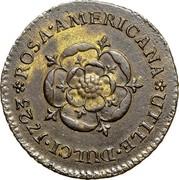 USA Halfpenny 1723 KM# 2 Rosa Americana * ROSA • AMERICANA • UTILE • DULCI coin reverse