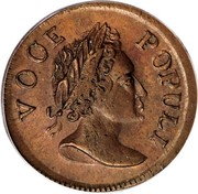 USA Halfpenny 1760 legend VOOE POPULI KM# Tn22 Hibernia Voce Populi VOCE POPULI coin obverse