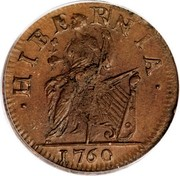 USA Halfpenny 1760 legend VOOE POPULI KM# Tn22 Hibernia Voce Populi • HIBERNIA • coin reverse