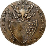USA Halfpenny 1795 KM# Tn76.3 Washington Pieces LIBERTY AND SECURITY coin reverse