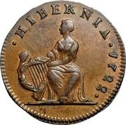 USA Halfpenny Hibernia Harp Right 1722 KM# 21 ∙ HIBERNIA ∙ coin reverse
