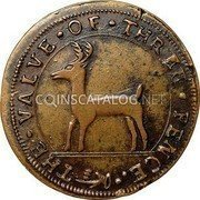 USA Higley Copper 1737 KM# Tn16 Higley or Granby coppers THE • VALVE • OF • THREE • PENCE coin obverse