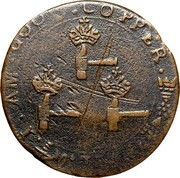 USA Higley Copper 1737 KM# Tn18.2 Higley or Granby coppers I . AM . GOOD . COPPER coin reverse