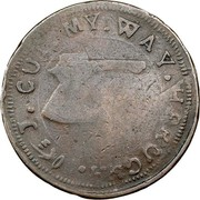 USA Higley Copper 1737 KM# Tn20 Higley or Granby coppers J ∙ CUT ∙ MY ∙ WAY ∙ THROUGH coin reverse