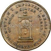 USA Mott Token 1789 KM# Tn52.1 Mott Tokens IMPORTEERS , DEALERS, MANUFACTURES, MOTTS, N. Y. OF GOLD & SILVER WARES. coin obverse