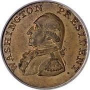 USA One Cent 1791 KM# Tn57 Washington Pieces WASHINGTON PRESIDENT. coin obverse