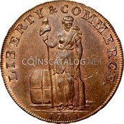 USA One Cent Talbot Allum & Lee 1794 KM# Tn71.1 LIBERTY & COMMERCE. coin obverse