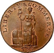 USA One Cent 1795 KM# Tn72.2 Talbot, Allum and Lee Tokens LIBERTY & COMMERCE coin obverse