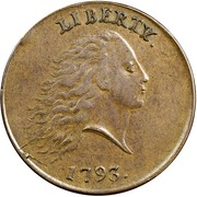 USA One Cent Flowing Hair 1793 KM# 11 LIBERTY. coin obverse