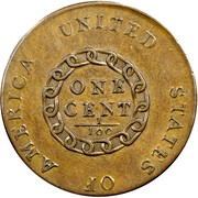 USA One Cent Flowing Hair 1793 KM# 11 UNITED STATES OF AMERICA. ONE CENT 1/100 coin reverse