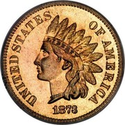 USA One Cent Indian Head 1873 closed 3 KM# 90a UNITED STATES OF AMERICA LIBERTY coin obverse